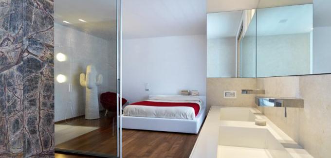 10 salles de bains ouvertes sur chambre originales et for Salle de bain ouverte sur chambre