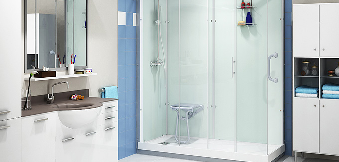 Salle de bains pmr design et fonctionnelle kinedo d co for Porte douche plexiglas