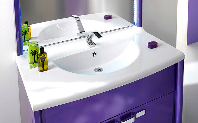 Meuble salle de bains violet Decotec Kyma