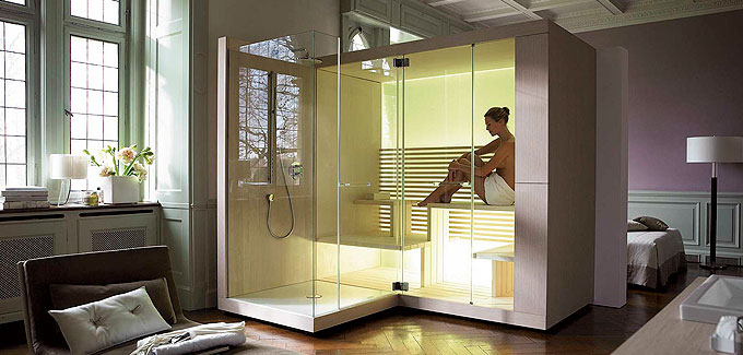 le sauna domicile bien tre et d tente d co salle de bains. Black Bedroom Furniture Sets. Home Design Ideas