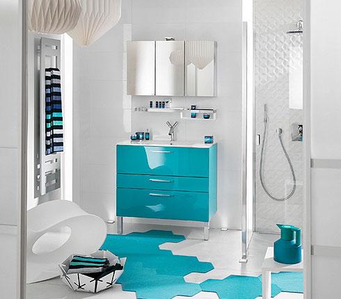 meuble salle de bains delpha glossy bleu emeraude zoom - Meuble Delpha Unique Onde