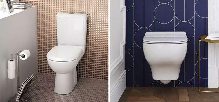 un modèle de WC classique et un modèle de WC suspendu