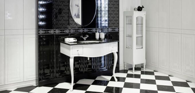 tendance du moment la salle de bain en noir et blanc. Black Bedroom Furniture Sets. Home Design Ideas
