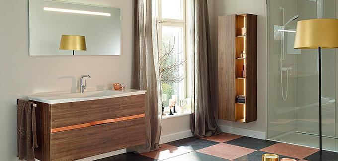 Du cuivre dans la salle de bain d co salle de bains for Accessoire salle de bain cuivre