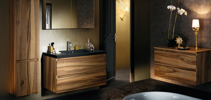 Meuble salle de bain sanijura lignum noyer d co salle de - Meuble salle de bain noyer ...