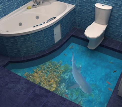 Du plancher 3d dans la salle de bains d co salle de bains for Salle de bain sol 3d