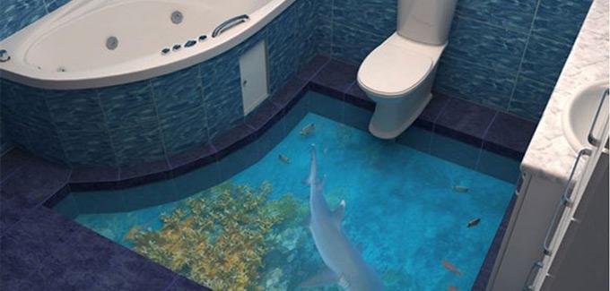 Du plancher 3d dans la salle de bains d co salle de bains - Deco mer salle de bain ...