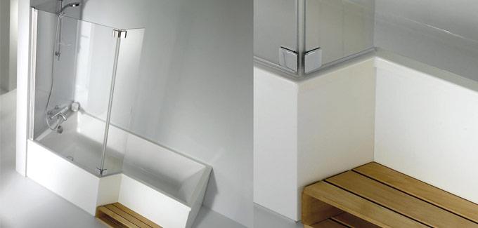 Douche et baignoire dans la salle de bains d co salle de for Baignoire et douche accolees