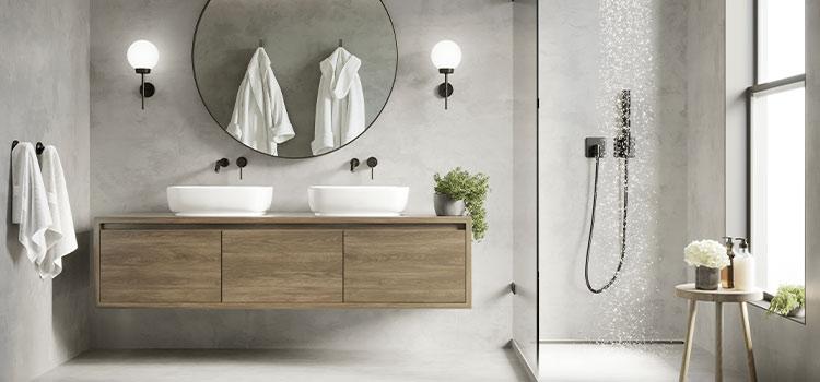 salle de bains avec meuble double vasques