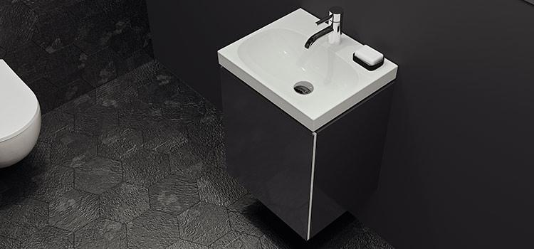 Petit meuble lave-mains avec rangements dans toilettes