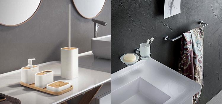 Accessoires de salle de bains à disposer autour de l'espace lavabo