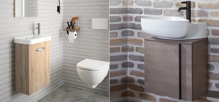 Petits meubles lave-mains dans toilettes au style industriel