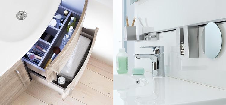 Le mobilier et le rangement dans la salle de bains