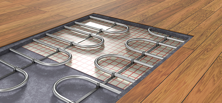 Intérieur d'un plancher chauffant de salle de bains