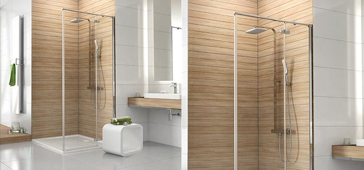 Douche à l'italienne en bois dans salle de bains design