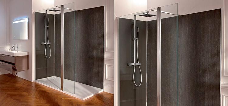 Revêtement PVC gris dans une spacieuse douche à l'italienne