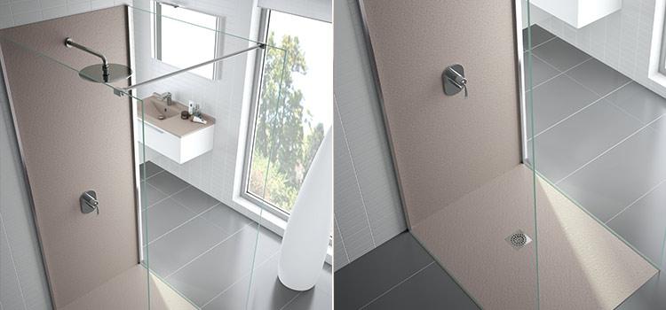 Douche à l'italienne avec revêtement en PVC beige