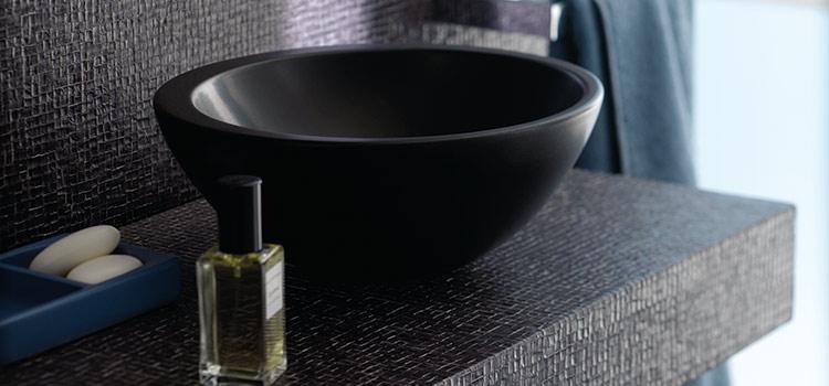 Vasque ronde en céramique noire à poser Allia Vanity