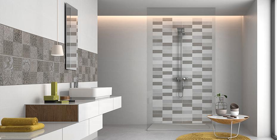 Salle d'eau design et crédence imitation carreaux de ciment