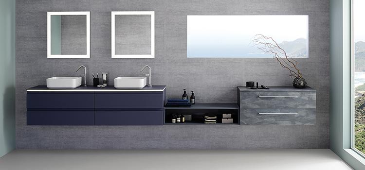 Salle d'eau design avec double vasque et meuble sous-vasque à tiroirs