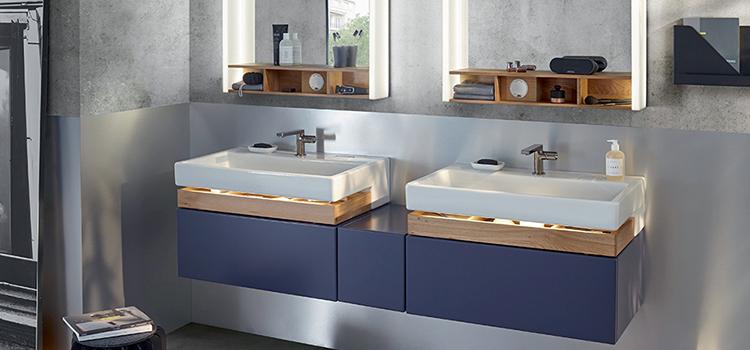 Double vasque bois et céramique avec meuble sous-vasque à tiroirs