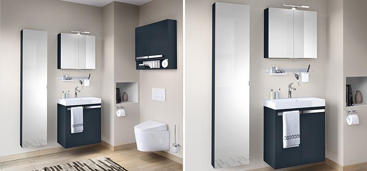 Espace toilettes design avec wc suspendu et lave-mains, rangements et armoire de toilette