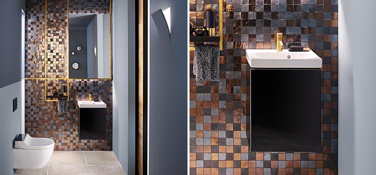 Espace toilettes original avec carreaux de zelliges effet cuivre et wc suspendu, lave-mains et rangement
