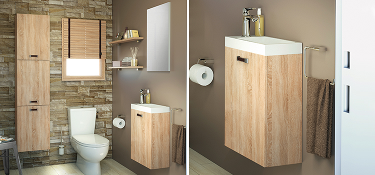 Confortable espace de toilettes avec lave-mains et wc suspendu