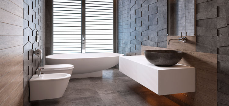 Salle de bain avec meuble vasque et baignoire