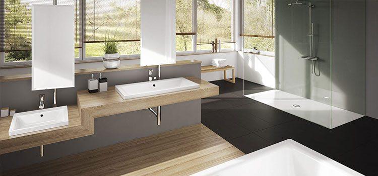 Double vasque élégante et design avec céramique et bois