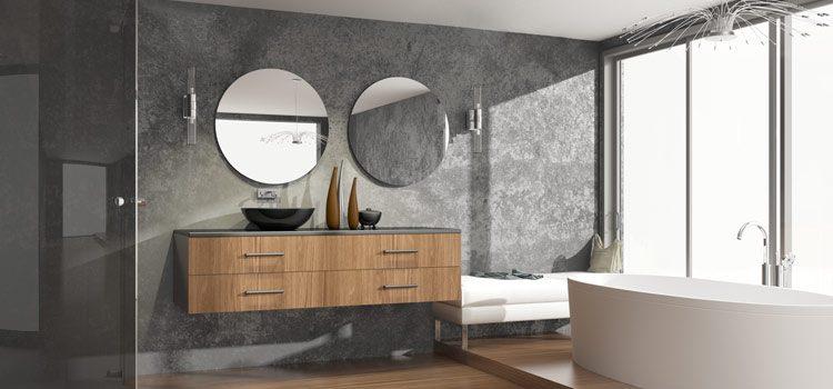 Salle de bain design avec double vasque et miroirs ronds