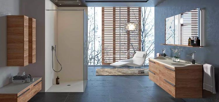 Salle d'eau avec douche à l'italienne et carrelage noir imitation pierre naturelle