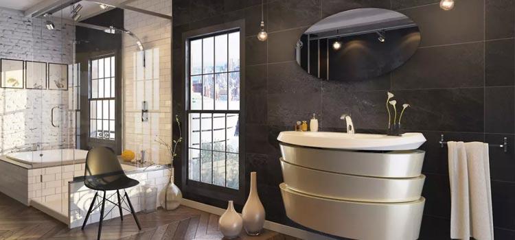 Grande salle de bain avec carrelage noir au style industriel