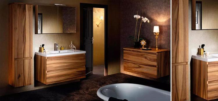 Salle de bain contemporaine avec meubles bois