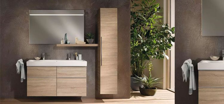Salle de bain design avec meubles bois