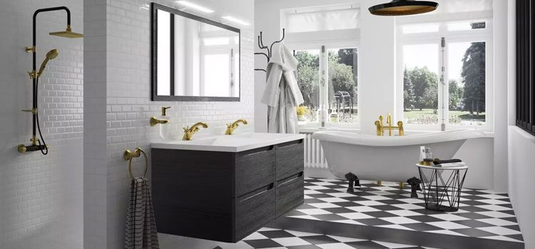 Salle de bain contemporaine au style baroque noir et blanc