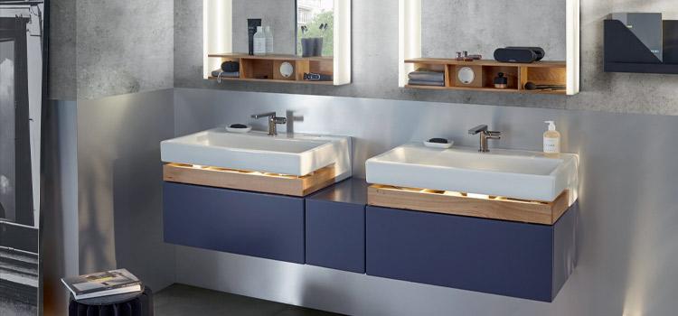 Double vasque avec meuble de salle de bains et rangements