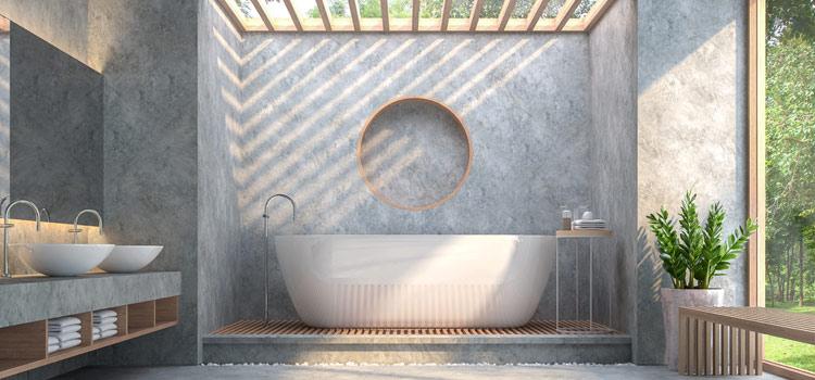 Salle de bains avec revêtement mural en béton ciré