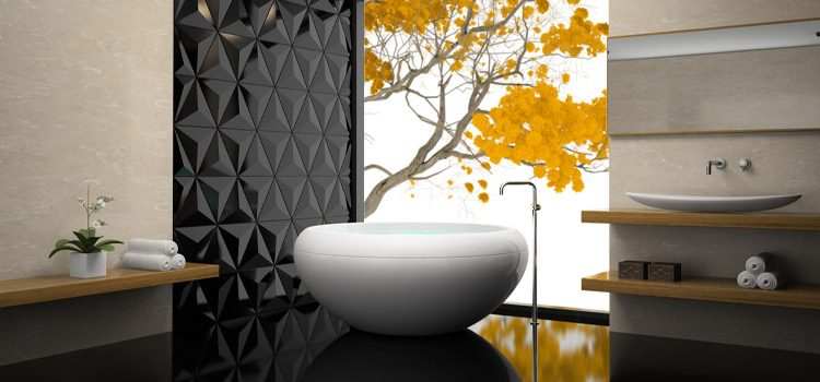 Baignoire hors sol design dans salle de bains ambiance japonaise