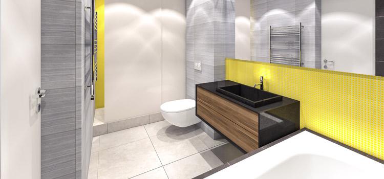 Salle de bains gris blanc et jaune