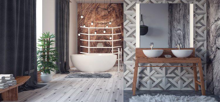Salle de bains avec décoration lumineuse moderne sur baignoire