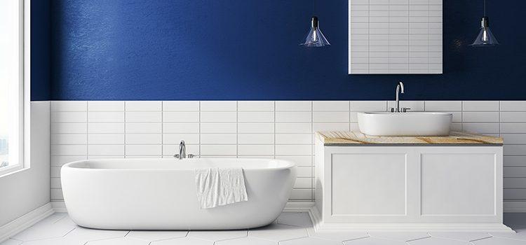 salle de bains bleu et blanc en longueur