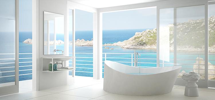 Salle de bains zen avec bord de mer