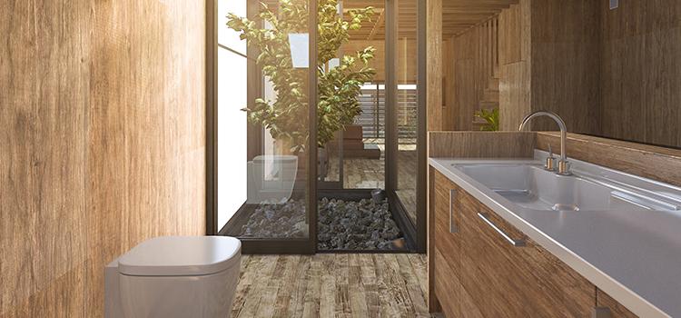 Salle de bains zen avec bambous