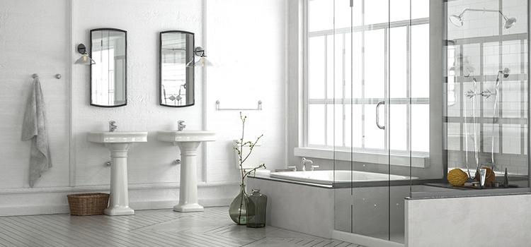 Salle de bains monochrome blanc