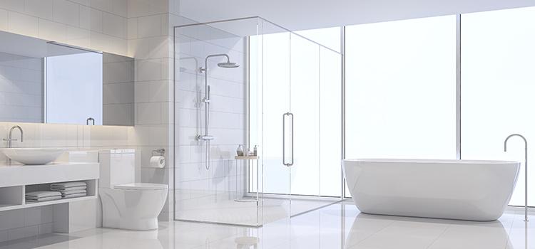 Vaste salle de bains avec douche