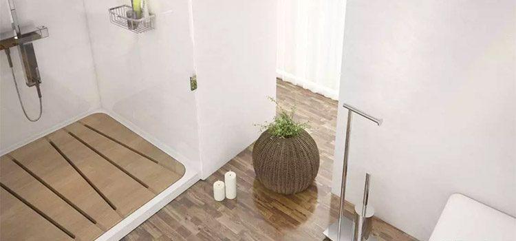Salle d'eau zen avec douche en bois