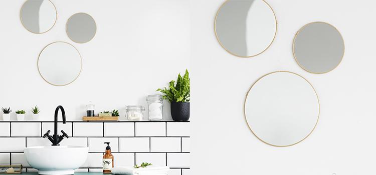 Trois miroirs ronds et design