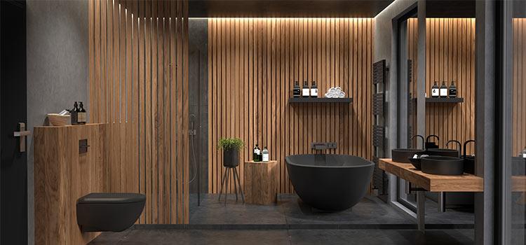 baignoire de salle de bains couleur noire