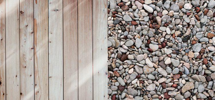 visuel représentant à moitié du bois et à moitié des petites pierres